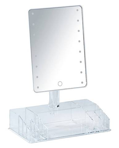 Biele kozmetické zrkadlo s LED podsvietením a organizérom na make-up Farnese