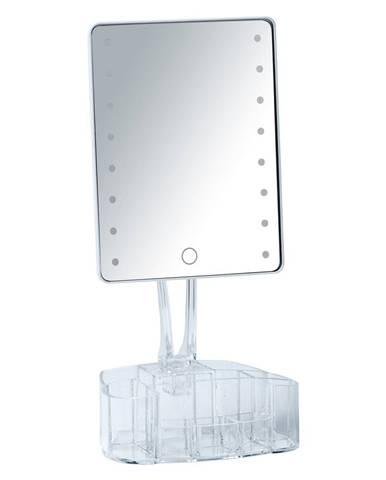 Biele kozmetické zrkadlo s LED podsvietením a organizérom na make-up Wenko Trenn