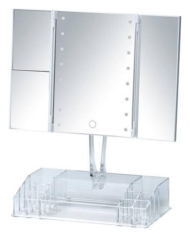 Biele rozkladacie kozmetické zrkadlo s LED podsvietením a organizérom na make-up Fanano