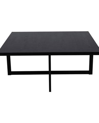 Čierny konferenčný stolík z dubového dreva Canett Elliot, 100 x 100 cm