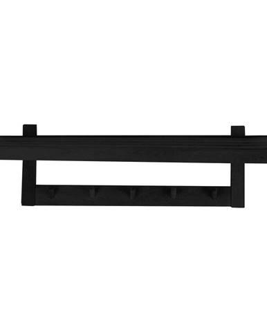 Čierny vešiak na oblečenie z dubového dreva Canett Uno, šírka 80 cm
