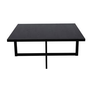 Čierny odkladací stolík z dubového dreva Canett Elliot, 100 x 100 cm