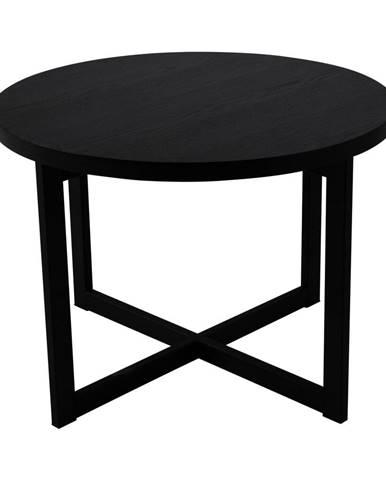 Čierny konferenčný stolík z dubového dreva Canett Elliot, ø 70 cm