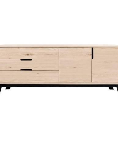 Komoda s 3 zásuvkami z dubového dreva a kovovou konštrukciou Canett Vito, šírka 180 cm
