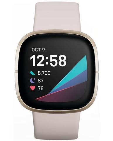 Inteligentné hodinky Fitbit Sense - Lunar White/Soft Gold Stainless