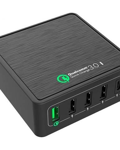 Nabíjačka do siete WG 5x USB, QC 3.0, USB-C, 40W čierna