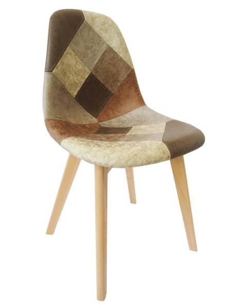 Kondela Jedálenská stolička patchwork/buk SALEVA