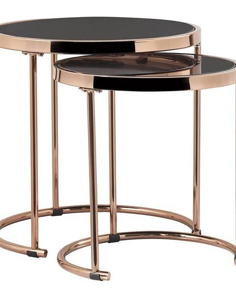 Tempo Kondela Set 2 konferenčných stolíkov rose gold chróm ružová/čierna MORINO