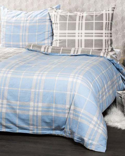 4Home 4Home Flanelové obliečky Modrá kocka, 140 x 220 cm, 70 x 90 cm