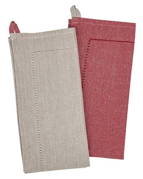 Banquet Trade Concept Utierka Heda béžová / červená, 50 x 70 cm, sada 2 ks