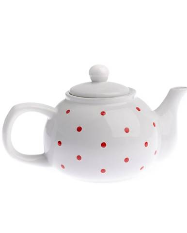 Keramická kanvička na čaj Dots 1 l, biela