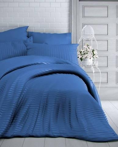 Kvalitex Saténové obliečky Stripe modrá, 140 x 200 cm, 70 x 90 cm