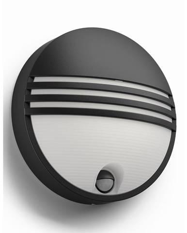 Philips 17297/30/16 Yarrow Vonkajšie nástenné LED svietidlo s čidlom 21 cm, čierna