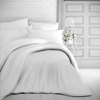 Kvalitex Saténové obliečky Stripe biela, 200 x 200 cm, 2 ks 70 x 90 cm