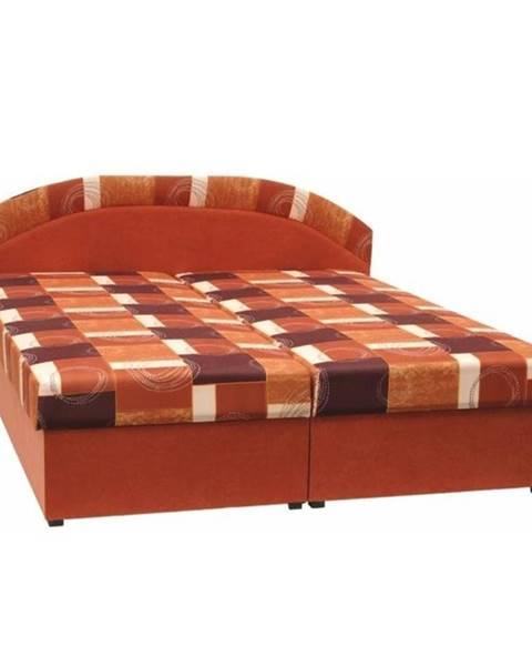 Tempo Kondela Manželská posteľ molitanová oranžová/vzor KASVO