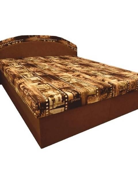 Tempo Kondela Manželská posteľ s molitánovými matracmi hnedá/vzor PETRA