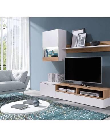 Obývacia stena biela/dub zlatý ROSO