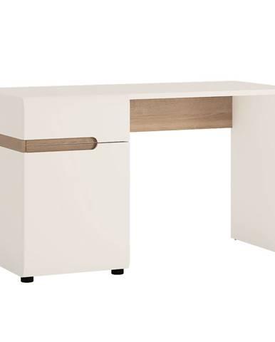 PC stôl biela extra vysoký lesk HG/dub sonoma tmavý truflový LYNATET TYP 80