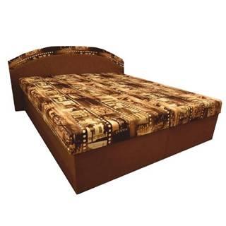 Manželská posteľ s molitánovými matracmi hnedá/vzor PETRA