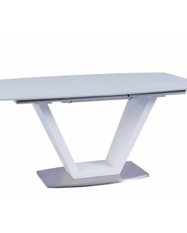 Jedálenský stôl rozkladací biela extra vysoký lesk/oceľ PERAK poškodený tovar