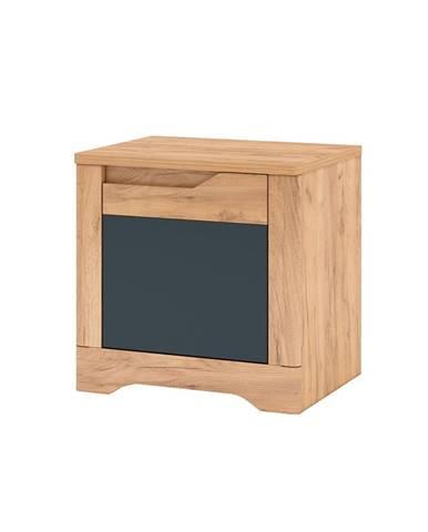 Nočný stolík dub craft zlatý/grafit sivá pravá FIDEL X2