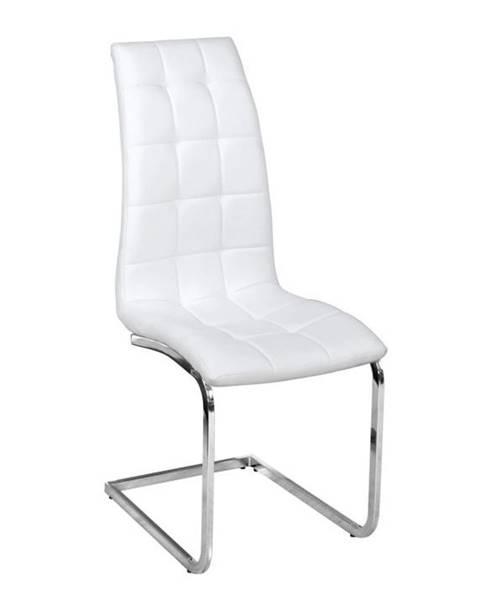 Tempo Kondela Jedálenská stolička biela ekokoža chróm DULCIA poškodený tovar