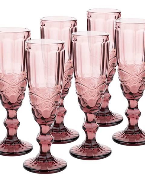 Tempo Kondela Vintage sklené poháre na šampanské 6ks 150ml ružová FREGATA TYP 4