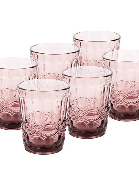 Tempo Kondela Vintage sklené poháre na vodu 6ks 240ml ružová FREGATA TYP 2