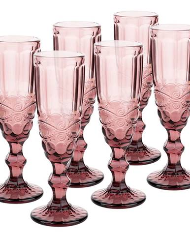Vintage sklené poháre na šampanské 6ks 150ml ružová FREGATA TYP 4