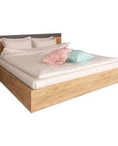 Manželská posteľ 160x200 dub artisan/grafit GABRIELA