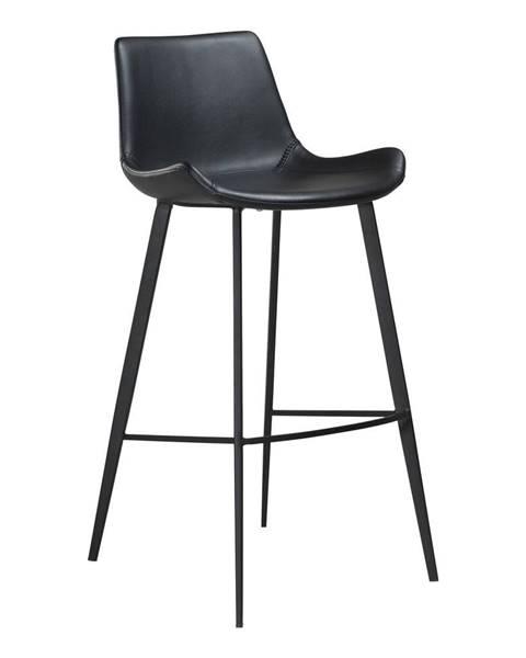 DAN-FORM Denmark Čierna barová stolička z eko kože DAN–FORM Denmark Hype, výška 103 cm