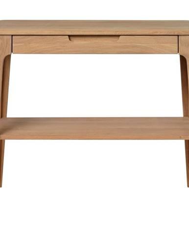 Konzolový stolík z dreva bieleho duba Unique Furniture Amalfi, 90x37cm