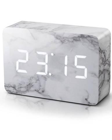 Sivý budík v mramorovom dekore s bielym LED displejom Gingko Brick Click Clock