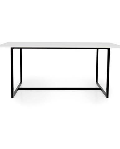 Biely jedálenský stôl s čiernou kovovou podnožou Tenzo Mello