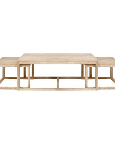 Actona Súprava 3 hnedých konferenčný stolíkov s podnožím z dubového dreva Actona Cornus
