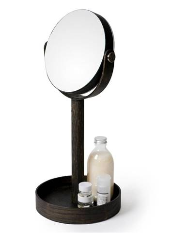 Stolové zrkadlo s poličkou z dubového dreva Wireworks Magnify Dark