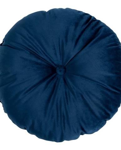 Modrý puf so zamatovým poťahom HoNordic Luso, ø 45 cm