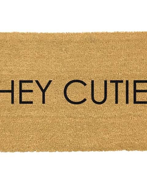 Artsy Doormats Čierna rohožka z prírodného kokosového vlákna Artsy Doormats Hey Cutie, 40 x 60 cm