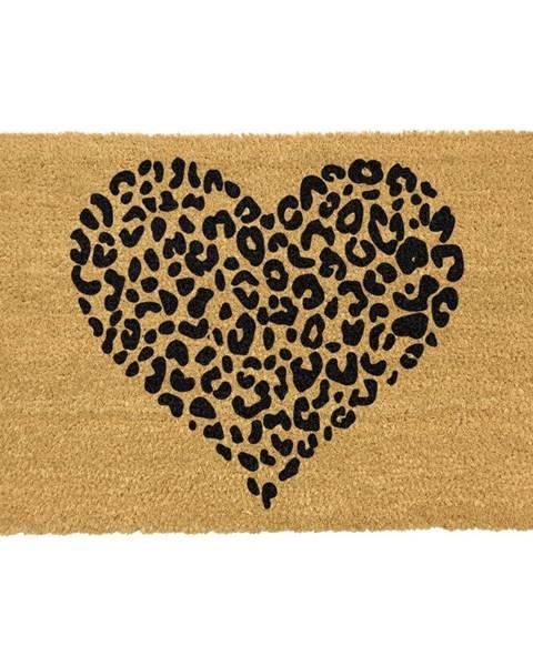 Artsy Doormats Čierna rohožka z prírodného kokosového vlákna Artsy Doormats Leopard Heart, 40 x 60 cm