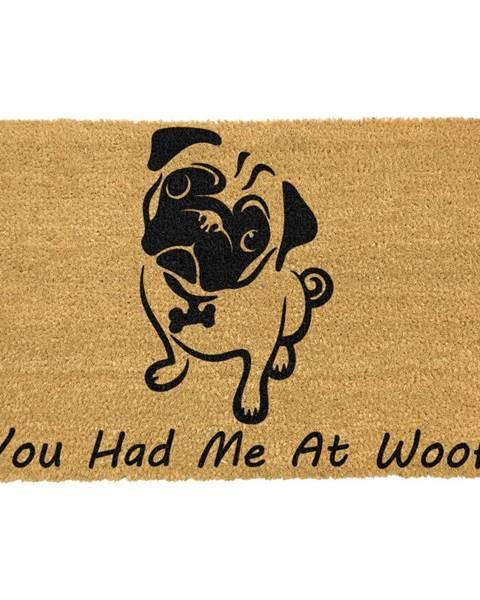 Artsy Doormats Rohožka z prírodného kokosového vlákna Artsy Doormats You Had Me At Woof Pug, 40 x 60 cm
