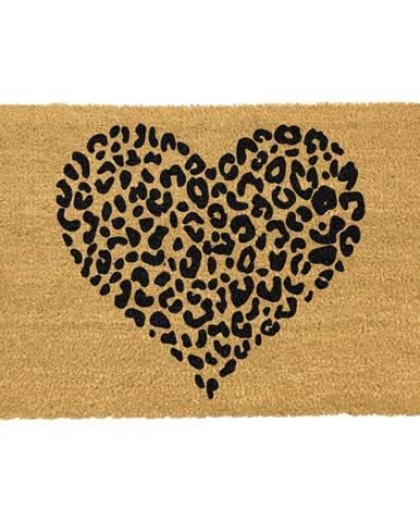 Čierna rohožka z prírodného kokosového vlákna Artsy Doormats Leopard Heart, 40 x 60 cm