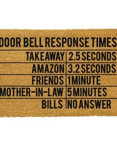 Rohožka z prírodného kokosového vlákna Artsy Doormats Door Bell Response Times, 40 x 60 cm