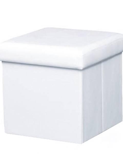 Kondela Skladací taburet ekokoža biela TELA NEW