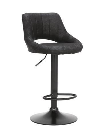 Barová stolička čierna látka s efektom brúsenej kože LORASA