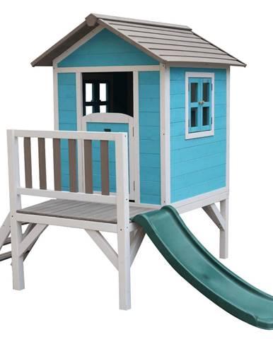 Drevený záhradný domček pre deti so šmykľavkou modrá/sivá/biela MAILEN