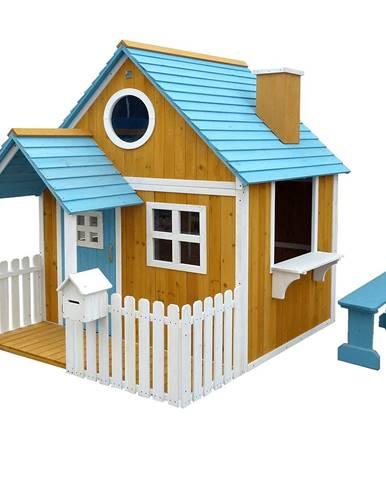 Drevený záhradný domček s lavičkou verandou a poštovou schránkou BULEN