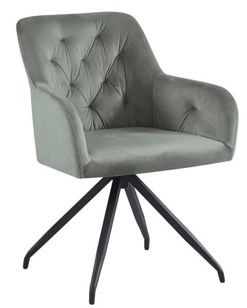 Tempo Kondela Otočná stolička sivá Velvet látka/čierna VELEZA