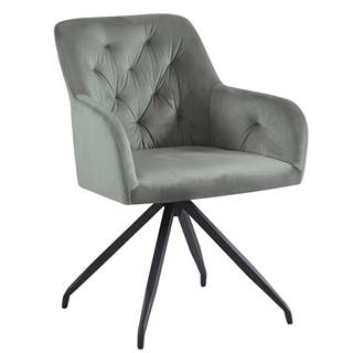 Otočná stolička sivá Velvet látka/čierna VELEZA