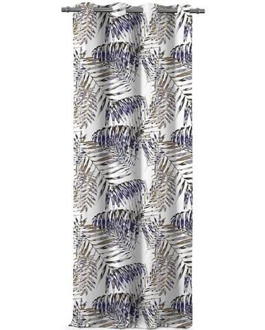 AmeliaHome Záves Blackout Palm Leaves modrá, 140 x 245 cm