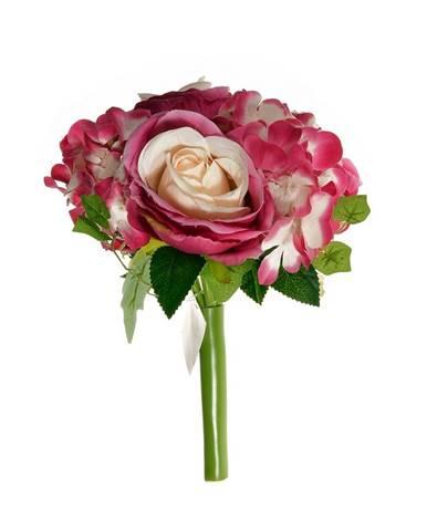 Umelá kytica Ruže s hortenziou ružová, 26 cm
